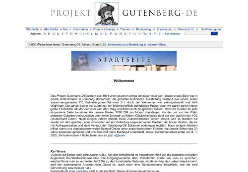 Projekt Gutenberg – Klassische Literatur Online